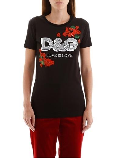 Dolce&Gabbana DOLCE&GABBANA KADIN T-SHIRT F8H32T-G7THN-N0000 Siyah